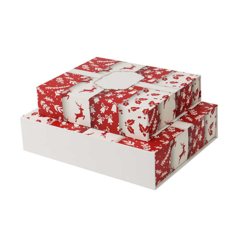 Christmas Ribbon Paper Box Lid And Base Gift Box Custom Design CMYK Printing